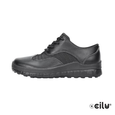 CCILU 皮革拼網布運動休閒鞋-男款-301263065黑色