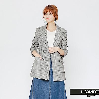 H:CONNECT 韓國品牌 女裝-千鳥格紋西裝外套-藍