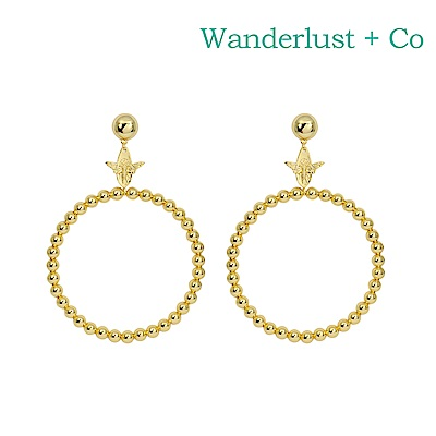 Wanderlust+Co 澳洲時尚品牌 BEE蜜蜂造型 圓圈耳環 金色