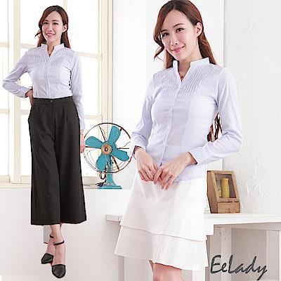 EELADY-OL立領U壓摺條紋長袖襯衫(藍色)