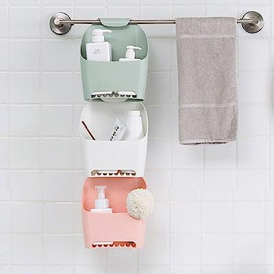 QHL酷奇 日式浴廁瀝水吊掛置物收納籃 (三色)