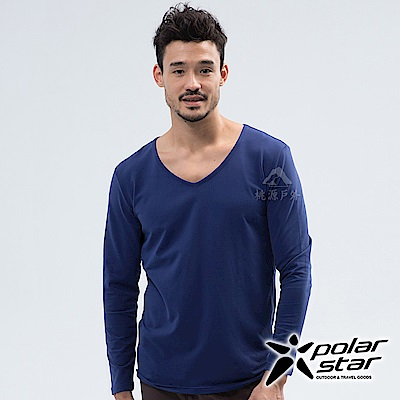 PolarStar 男 V領排汗快乾衛生衣『深藍』 P18225