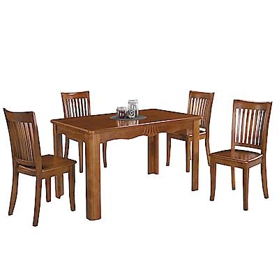 品家居 唐尼4.3尺實木餐桌椅組合(一桌四椅)-130x80x75.5cm免組