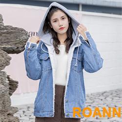男友風拼接羊羔毛連帽牛仔外套 (藍色)-ROANN