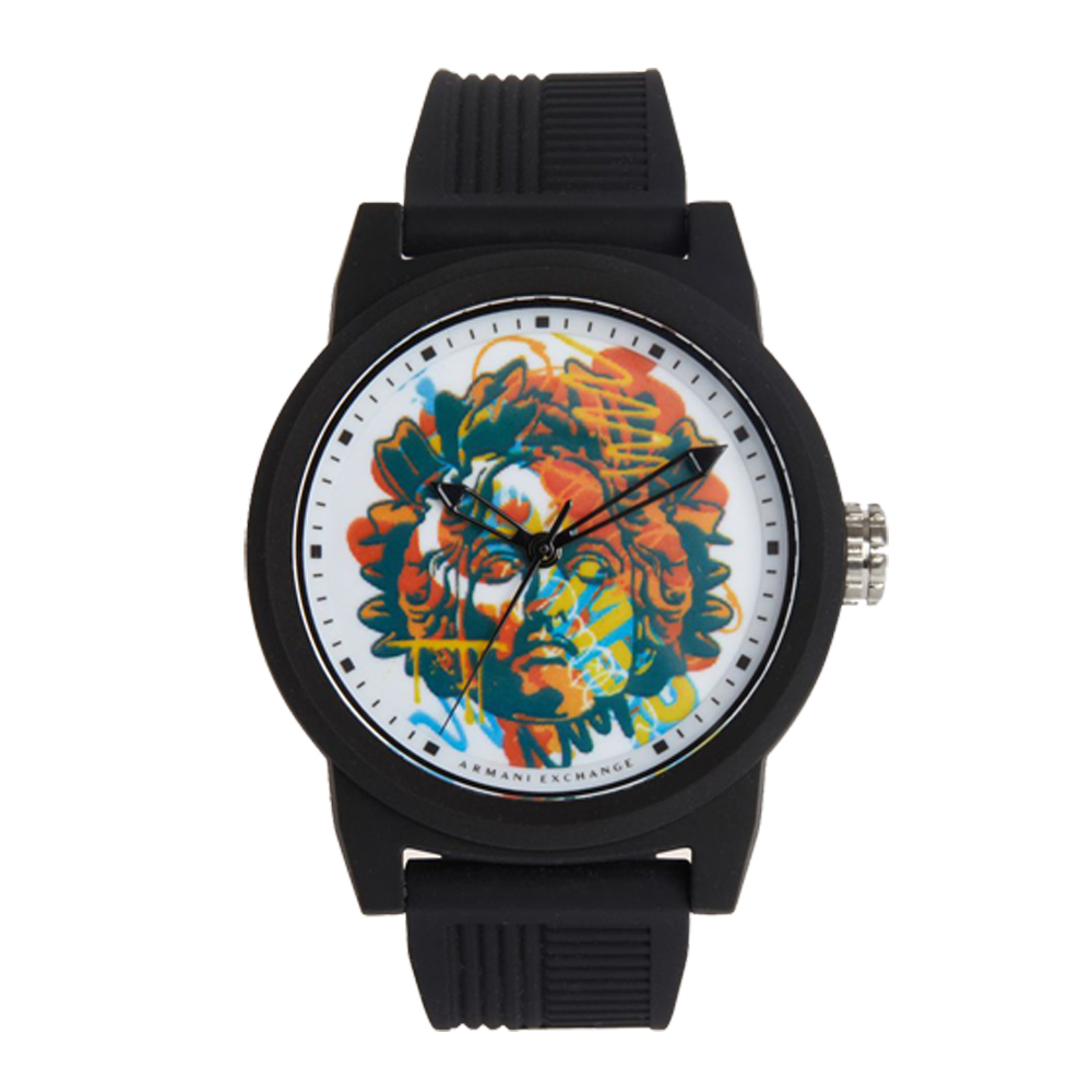 AX STREET ART系列ALEX LEHOURS潮流復古塗鴉設計手錶-黑-AX144