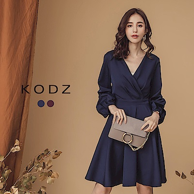 東京著衣-KODZ 約會喜酒完美修飾泡泡袖v領洋裝-S.M.L(共二色)
