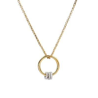 apm MONACO法國精品珠寶 閃耀金色環環相扣鑲鋯可調式項鍊