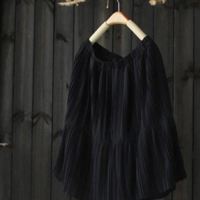 網紗假兩件裙褲雪紡休閒中五分褲-設計所在