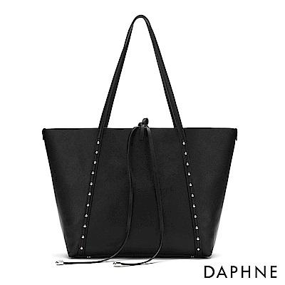 達芙妮DAPHNE-圓珠鉚釘子母托特包-黑