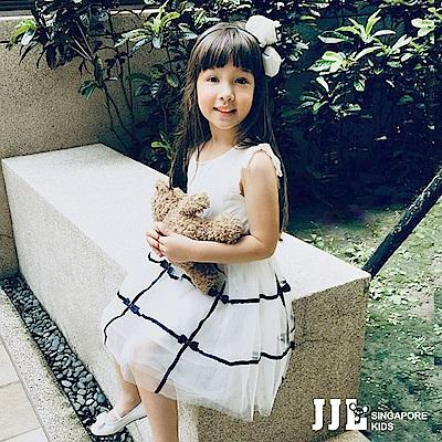 JJLKIDS 小名媛緞帶蝴蝶結蕾絲紗裙洋裝(白色)