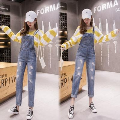【韓國K.W.】(預購)大氣歐美風格連身牛仔吊帶褲-1色