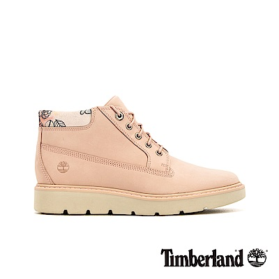 Timberland 女款淺粉色磨砂革花型圖案鞋領靴|A1XG5
