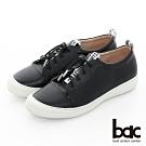 【bac】週末輕旅行 - 標語織帶彈力鞋帶防踢頭平底休閒鞋-黑