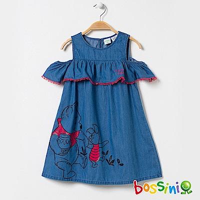 bossini女童-小熊維尼印花牛仔洋裝02淡藍