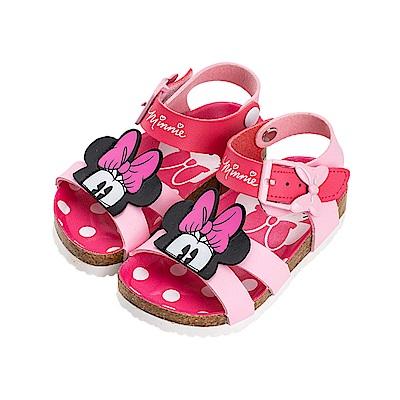 迪士尼童鞋 米妮 造型帶扣魔鬼氈涼鞋-粉