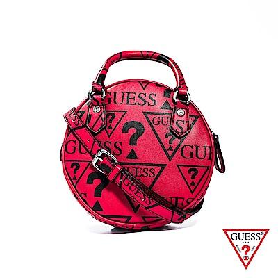 GUESS-女夾-滿版LOGO印圖肩背手提包-紅 原價2690