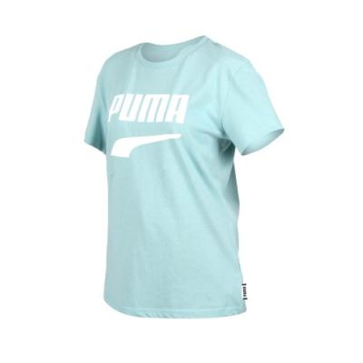 PUMA DOWNTOWN 女流行系列短袖T恤-慢跑 路跑 短T 湖水綠白