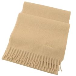 PRADA 電繡LOGO長型羊毛圍巾(卡其)