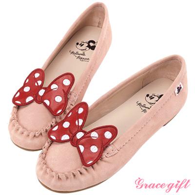 Disney collection by grace gift波點蝴蝶結莫卡辛鞋 粉