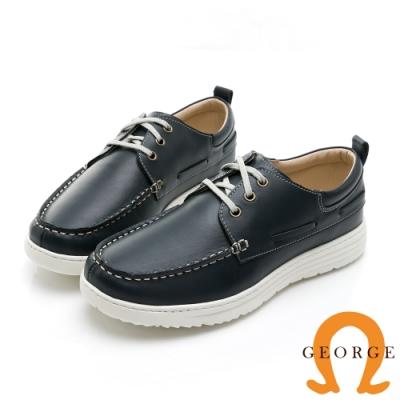 【GEORGE 喬治皮鞋】輕量系列 輕量真皮繫帶休閒鞋-藍