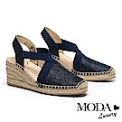 涼鞋 MODA Luxury 閃亮渡假風交叉帶草編厚底楔型涼鞋-藍