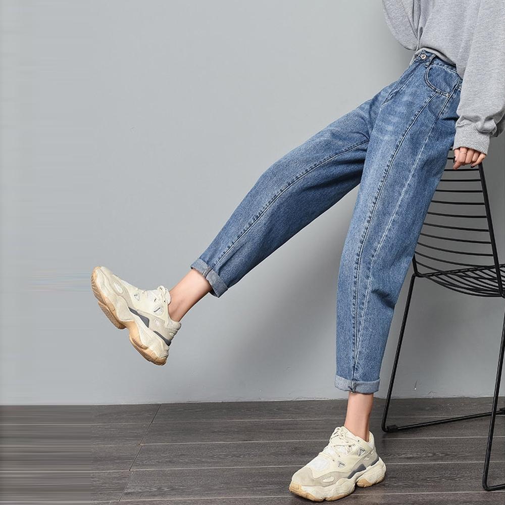 JILLI-KO 經典鬆緊腰身哈倫牛仔褲- 藍色