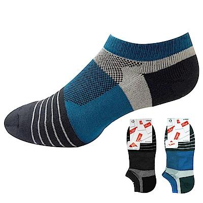 本之豐 男性加大尺碼萊卡精梳棉毛巾底條紋運動船襪-12雙