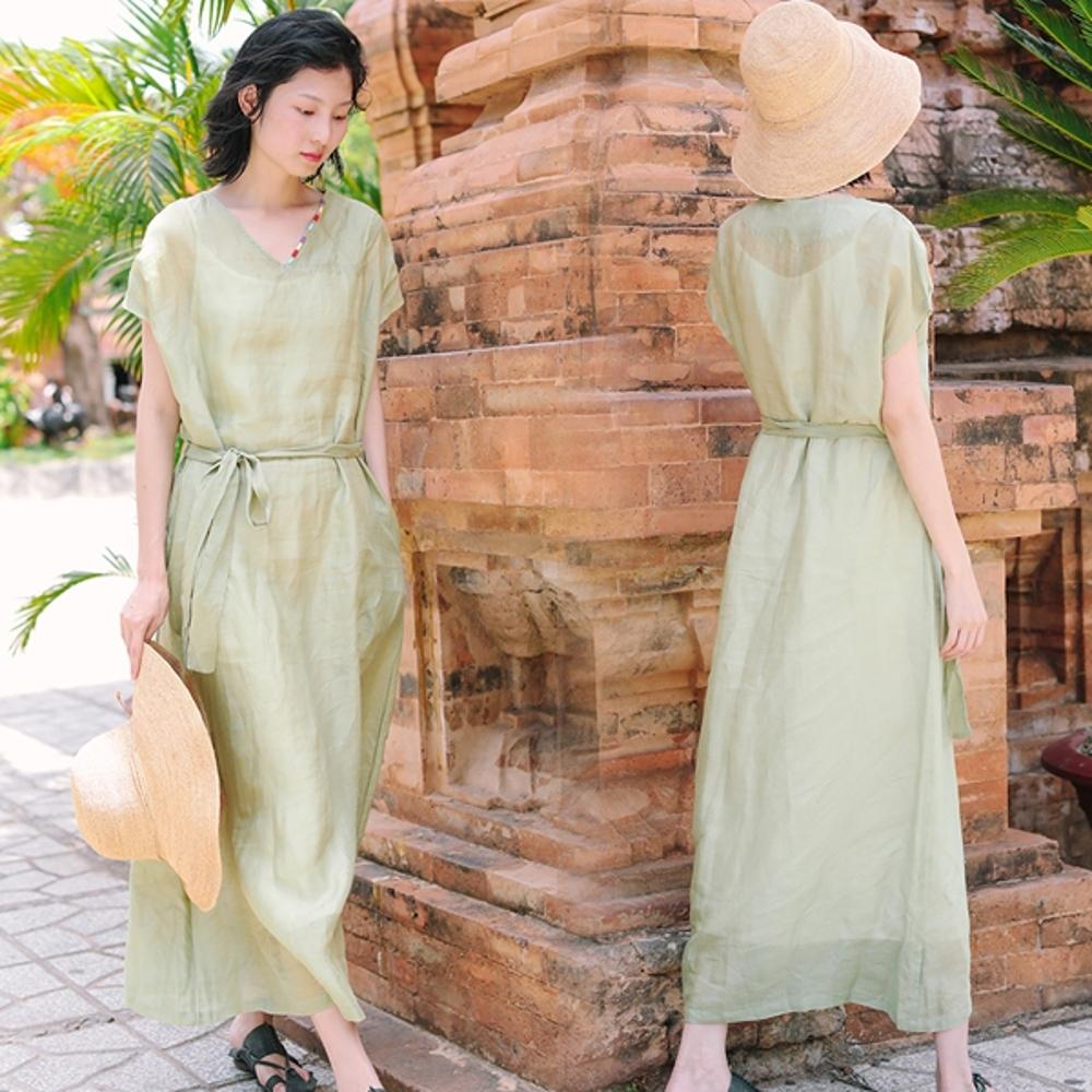 洋裝-100支純苧麻領口刺繡V領棉麻長裙-設計所在