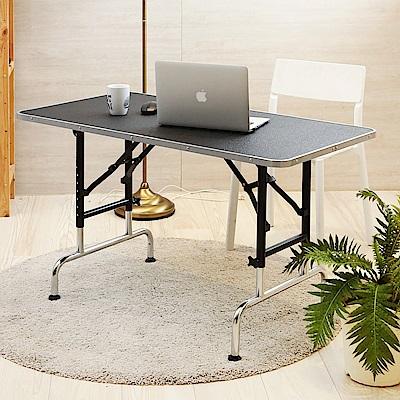 澄境免組裝多重結構加厚鐵管伸縮收納電腦桌115x60x58~85cm