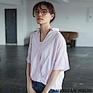 AMERICAN HOLIC 俐落大V領素面/條紋襯衫上衣