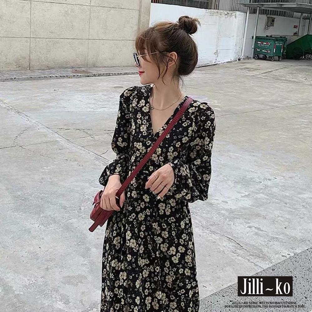 JILLI-KO V領碎花雪紡連衣裙- 黑色 (黑色系)