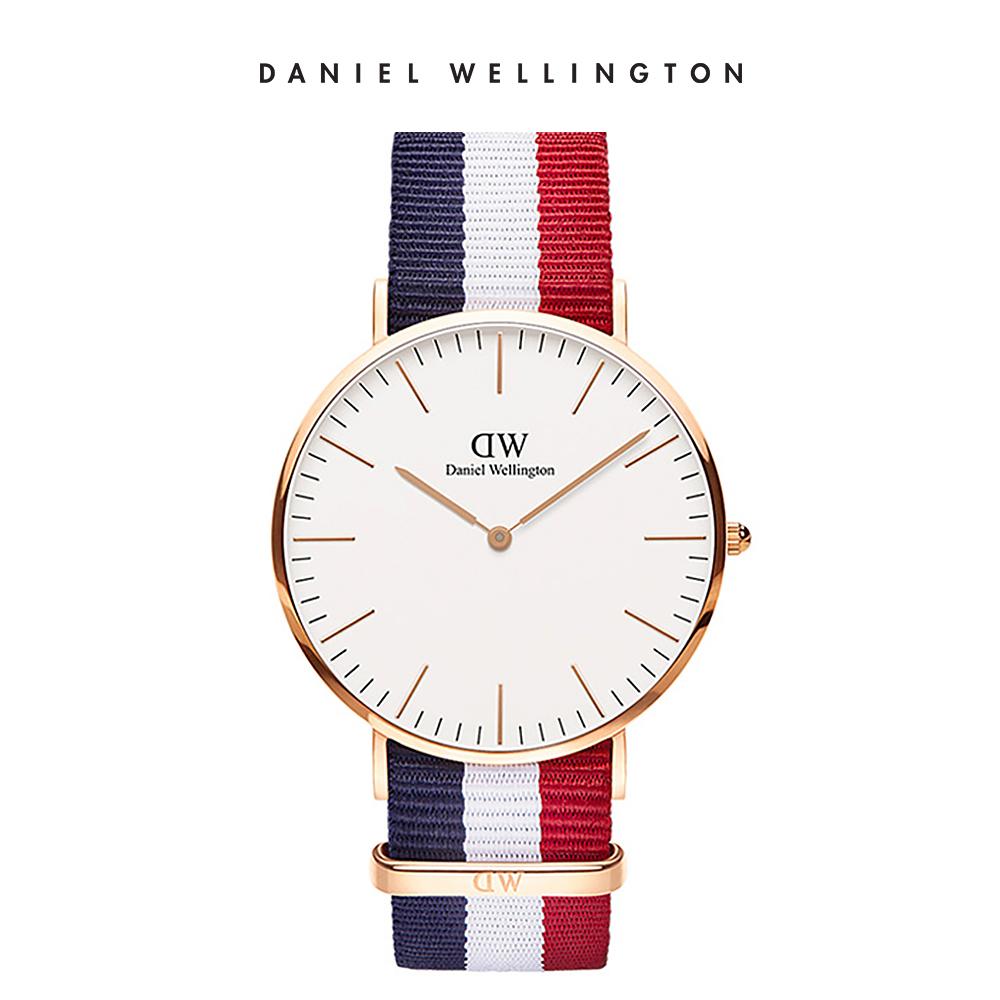 DW 手錶 官方旗艦店 40mm玫瑰金框 Classic 經典藍紅織紋錶
