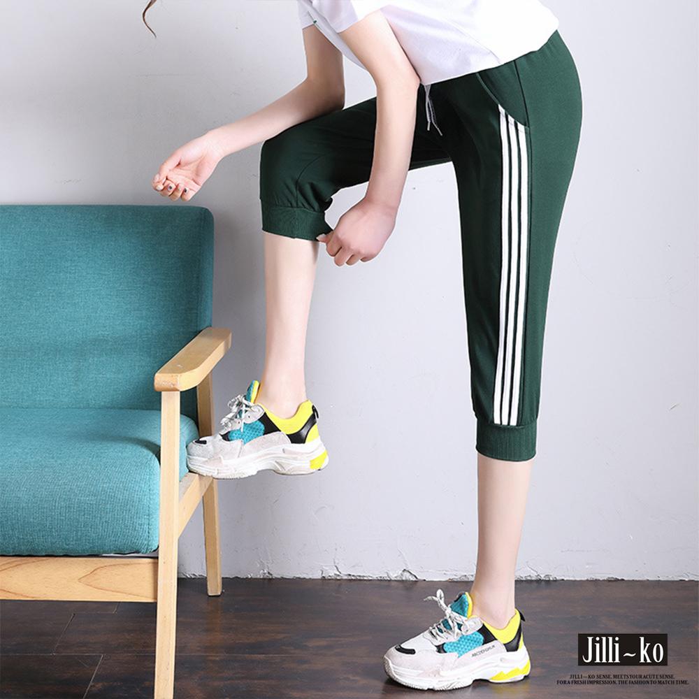 Jilli-ko 邊條七分慢跑運動褲- 黑/綠