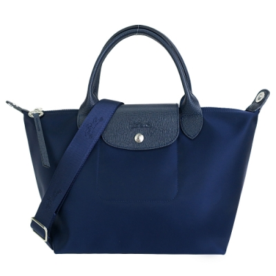 LONGCHAMP LE PLIAGE NÉO系列新款厚尼龍奔馬織紋寬背帶短把兩用包(小/深藍)
