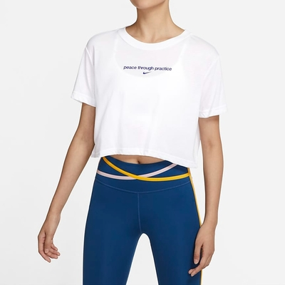 Nike SS CROP YOGA 2 短版 女短袖上衣-白-DJ6236100