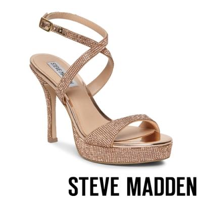 STEVE MADDEN-SHOSHANA奢華性感晶鑽踝繞帶高跟鞋-金色