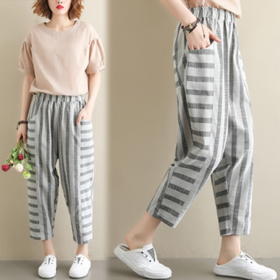 【韓國K.W.】甜美氛圍條紋寬褲