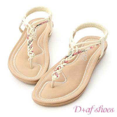 D+AF 好感夏氛.交叉花布編織夾腳涼鞋*米