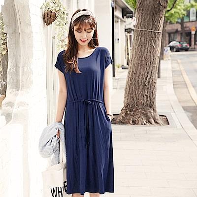 素色美背造型抽腰綁帶連袖中長洋裝.2色-OB大尺碼