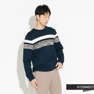 H:CONNECT 韓國品牌 男裝-橫線拼接織紋大學T-藍