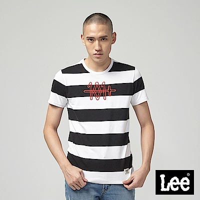 Lee 條紋短袖圓領TEE-白