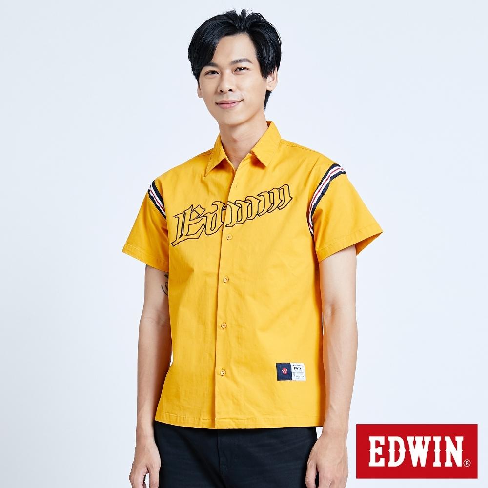 EDWIN 復古運動 繡花短袖襯衫-男-土黃色