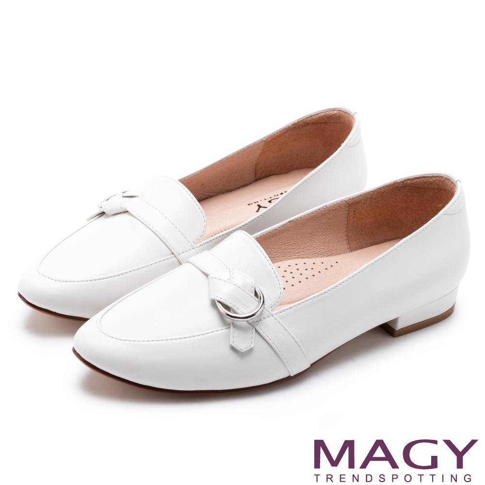 MAGY 復古潮流 真皮圓釦細帶尖頭樂福鞋-白色