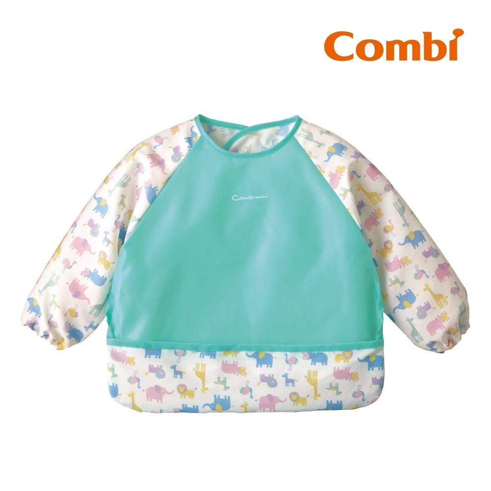 【Combi】Combimini 長袖食事圍兜- 長頸鹿(草原綠)