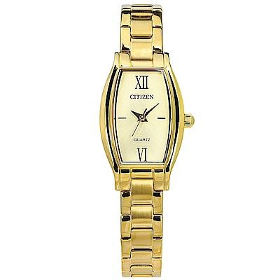 CITIZEN 細緻秀氣酒桶型不鏽鋼(EJ6112-52P)手錶-鍍金/19mm