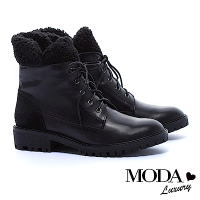 中筒靴 MODA Luxury 街頭率性毛毛拼接牛皮綁帶中筒軍靴-黑