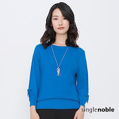 獨身貴族 恬靜樂園蝴蝶結燈籠袖針織衫(2色)
