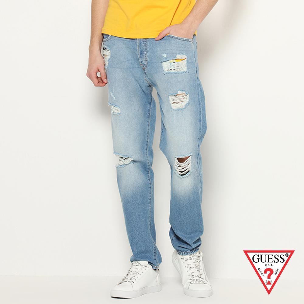 GUESS-男裝-刷破仿舊造型牛仔褲-淺藍 原價2790