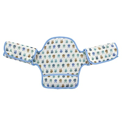 日本西村媽媽 Lucky (揹巾專用)展翅飛翔360度環繞式口水墊(粉藍兔子)