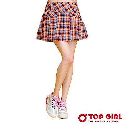 【TOP GIRL】清純天使格紋百摺短裙-時尚紅